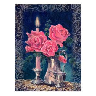 Cartão Postal LUZ & ROSAS da VELA por SHARON SHARPE