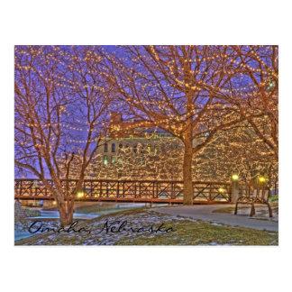 Cartão Postal Luzes de Natal de Omaha Nebraska