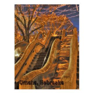 Cartão Postal Luzes do inverno de Omaha Nebraska