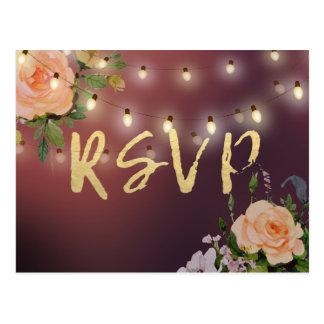 Cartão Postal Luzes florais da corda de Borgonha que Wedding a