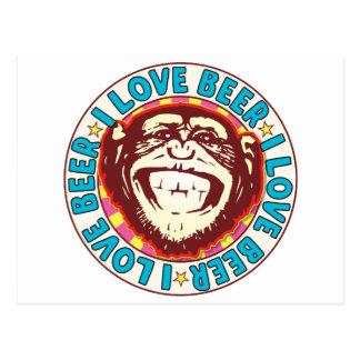 Cartão Postal Macaco da cerveja do amor