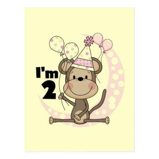 Cartão Postal Macaco da menina no segundo aniversário do chapéu