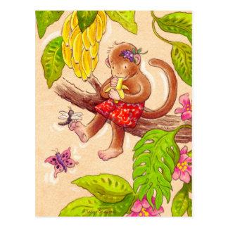 Cartão Postal Macaco e libélula