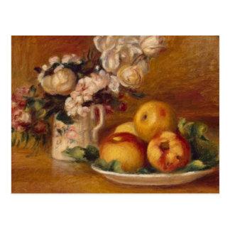 Cartão Postal Maçãs e flores de Renoir
