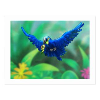 Cartão Postal macaw do poster_hyacinth