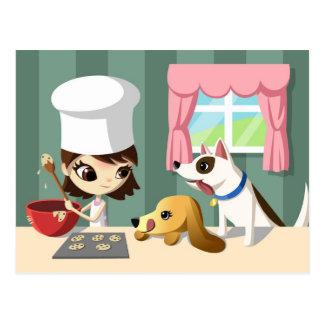 Cartão Postal Maddi e os filhotes de cachorro com fome