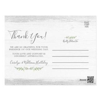 Cartão Postal Madeira rústica & obrigado botânico do casamento