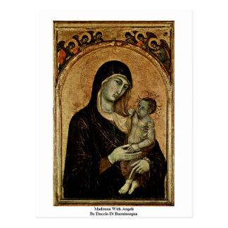 Cartão Postal Madonna com anjos por Duccio Di Buoninsegna
