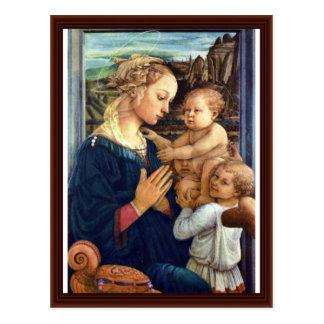 Cartão Postal Madonna com dois anjos por Lippi Fra Filippo