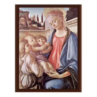 Cartão Postal Madonna com dois anjos, por Sandro Botticelli