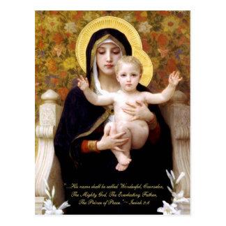 Cartão Postal Madonna & criança pelo Natal religioso de
