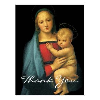 Cartão Postal Madonna e a criança de Raphael