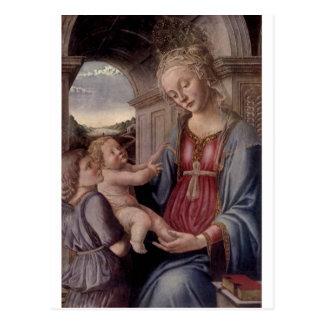 Cartão Postal Madonna e criança com anjo por Fra Lippo Lippi