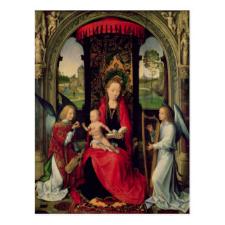 Cartão Postal Madonna e criança com dois anjos