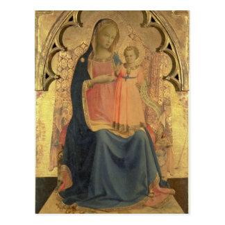 Cartão Postal Madonna e criança, painel central de um triptych