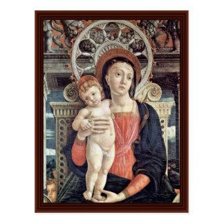 Cartão Postal Madonna e detalhe Enthroned dos anjos