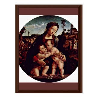 Cartão Postal Madonna e St John o baptista Tondo por Di de Piero