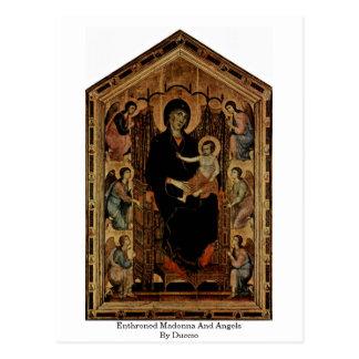 Cartão Postal Madonna Enthroned e anjos por Duccio
