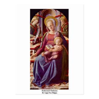 Cartão Postal Madonna Enthroned por Lippi Fra Filippo
