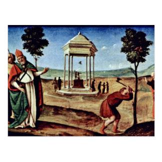 Cartão Postal Madonna Enthroned St Peter St John o baptista,