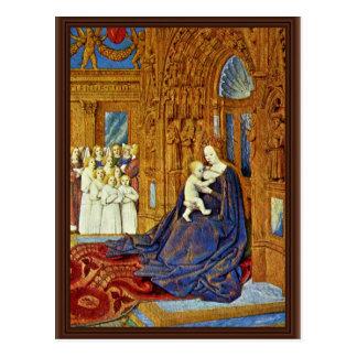 Cartão Postal Madonna no portal de uma catedral por Fouquet Je