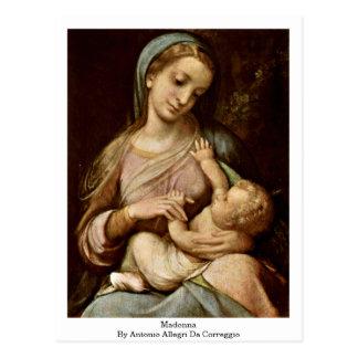 Cartão Postal Madonna por Antonio Allegri a Dinamarca Correggio