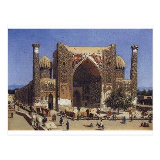 Cartão Postal Madrasah de Shir Dor no quadrado de Registan em
