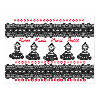 Cartão Postal Madrid en rojo y negro sevillanas y puntillas