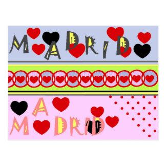 Cartão Postal Madrid España corazones divertidos