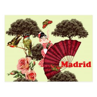 Cartão Postal Madrid España flamenca pajaritos y rosas