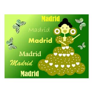 Cartão Postal Madrid España, mariposas en verde primavera