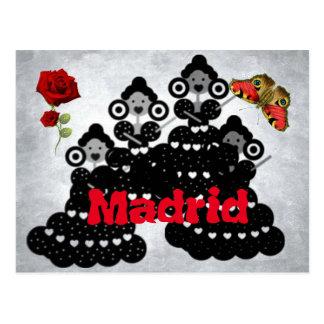 Cartão Postal Madrid España. rosas, flamenca y mariposas