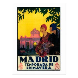 Cartão Postal Madrid no poster do promocional do viagem da