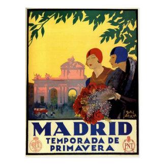 Cartão Postal Madrid Temporada de Primavera - poster da arte do