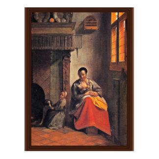 Cartão Postal Mãe amamentando por Hooch Pieter De