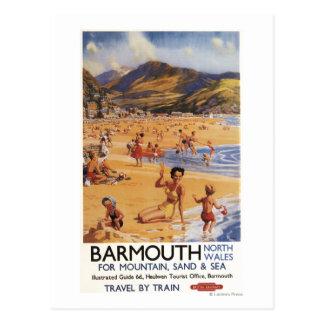 Cartão Postal Mãe da cena da praia e miúdos British Rail