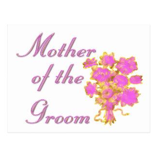 Cartão Postal Mãe do ouro & do buquê do noivo