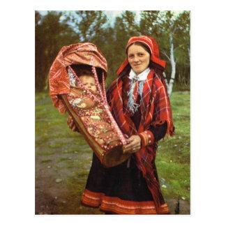 Cartão Postal Mãe do vintage Noruega, do Sami e bebê, Lapland