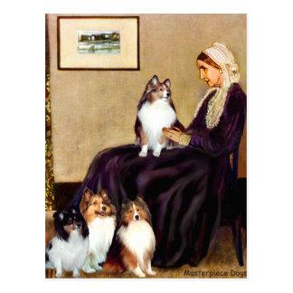 Cartão Postal Mãe dos assobiadores dos Sheepdogs de Shetland