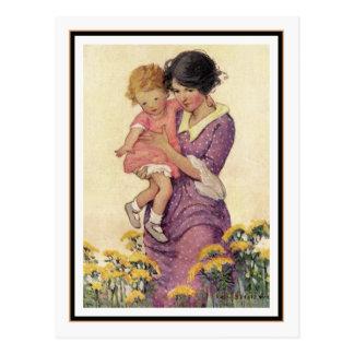 Cartão Postal Mãe e criança do vintage por Jessie Willcox Smith