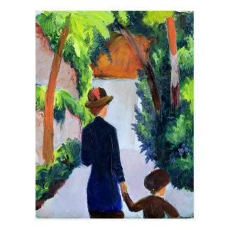 Cartão Postal Mãe e criança no parque, 1914
