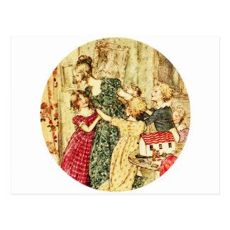 Cartão Postal Mãe e crianças do Victorian