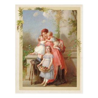 Cartão Postal Mãe e reprodução do vintage das crianças