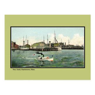 Cartão Postal MÃES de Charlestown da jarda do navio do vintage