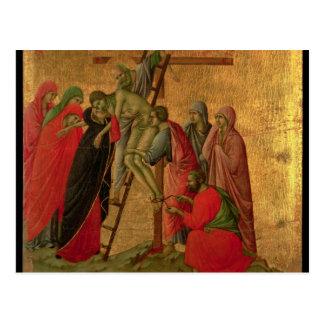 Cartão Postal Maesta: Descida da cruz, 1308-11