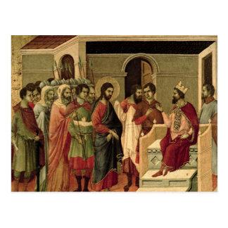 Cartão Postal Maesta: Jesus antes de Herod, 1308-11