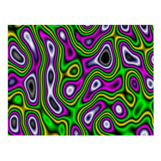 Cartão Postal Magenta do verde amarelo do labirinto do Fractal