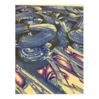 Cartão Postal Mágica de Printmaking nos azuis e nos roxos