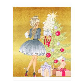 Cartão Postal Mágica do Natal - louro que decora uma árvore