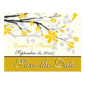 Cartão Postal Magnólia com flores amarelas que wedding economias